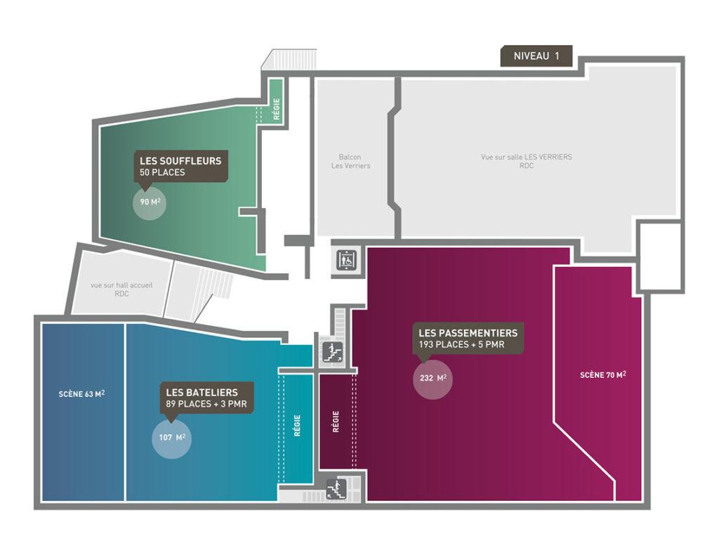 Plan du RDC des espaces de la salle la Passerelle à St Just St Rambert avec l'Agence CLOEE